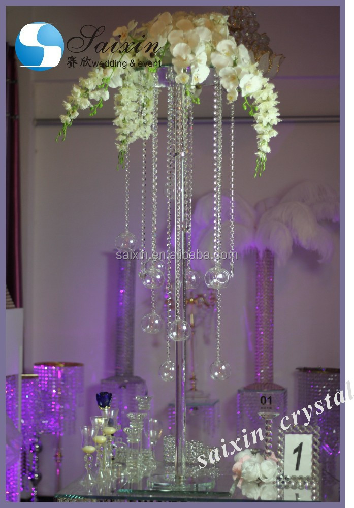 Unique wedding table centerpiece tall crystal flower