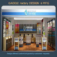 customized mobile glass showcase for mobile phone store display