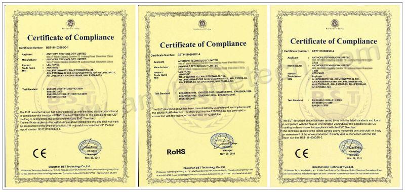 Certificate - LED Panel Light -  - Logo - 0820