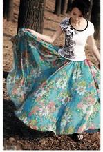 de la mujer 2014 verano y otoño de impresión de la moda bohemia beach faldas de gasa largo de la falda mujeres 9771