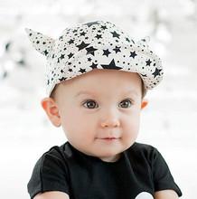 Baby summer hat baby sunbonnet child hat five-pointed star horn roll up hem baseball cap