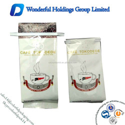 High quality coffee bag with valve and tin tie /Coffee plastic packaging bag