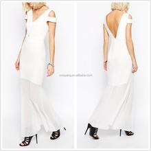 Summer dress woman elegant cut and sew chiffon dress, sleeveless white long dress