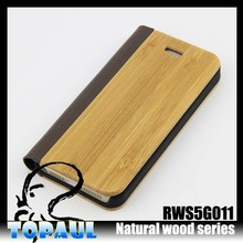 flip pu+wooden Bamboo wood phone case for iphone 5/6