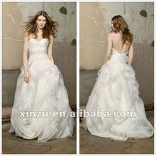 Ivory Organza Strapless Draped Open Low Back New Wedding Dress