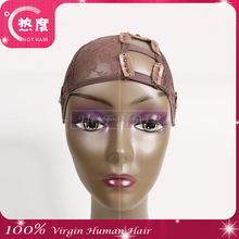 Wholesale left Part Lace Front U-part Wig Cap for making wigs with adjustable strap and clips