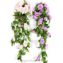 Wedding decorations 2.4M Artificial Silk ROSE Fake FLOWER Ivy Leaf Garland Plants Home Wedding Decor
