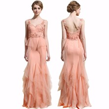 wholesale 2015 Candy Pink Strapless beading Hands knit Long evening dress Sweet Floor Length Formal dresses L80117