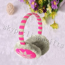 Chunky Cable Knit Headphone Earmuffs, stripe/gray