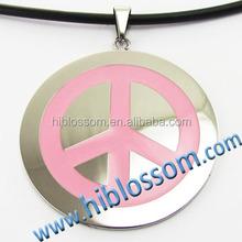 pink color enamel peace jewelry simple Jewish religious charm pendant