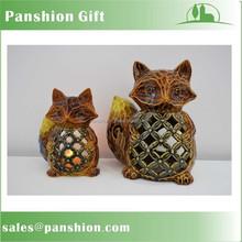 Festival harvest ceramic fox decoration with tealight