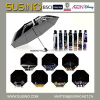 Hot selling Susino 3 Fold Auto Open silver print Umbrella