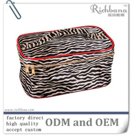 Cute Quilted Patent zebra print cosmetic case, beauty bag with handle