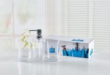 acrylic color box new design 3pcs bathroom accessories set