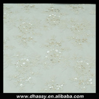 Hot sell good quality white fancy sequin embroidered beaded tulle fabric