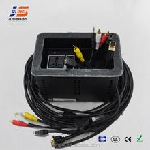JS-611 conference Aluminum cable desktop outlet box With HDMI VGA RJ45 USB