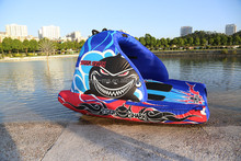 Amusement park inflatable flying manta blue ray