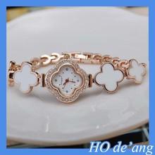HOGIFT 2015 Women Fashion Clover Dail Flower Rose Gold Bracelet Wrist Watch Women Birthday Gift