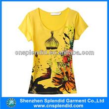 Custom 2014 Fashion off shoulder long big logo full printing women t shirts