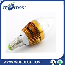 china supplier New product golden aluminum and glass foil 3w E14 E12 led candle light for home decoration