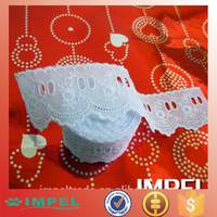 White Embroidered Eyelet Beading Cotton Lace, new design embroidery lace