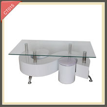 high gloss plasitc cheap glass s shape coffee table