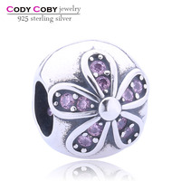 Personal 925 Sterling Silver Pendant & Bracelet Charm Bracelet Tattoo Designs Flower Round Ball Charms Pave Pink and White CZ