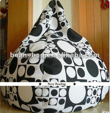 printed canvas tear drop bean bag sofa