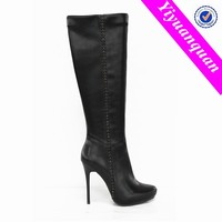 Stiletto Thigh High Latex Boots High Heel Women Black Boots