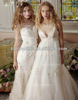 BO2401 Wholesale V Neck A Line Flowers Elegant Bridal Wedding Gowns 2014 New Style