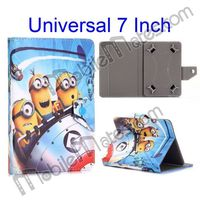 Universal 7 inch Tablet PC Custom Cartoon Leather Case, Cute Minions Tablet Cover for 7'' 8'' 9''