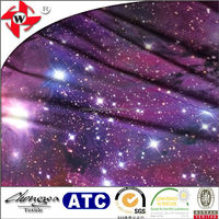 Polyester Spandex Fahion Print Fabric/Galaxy and Nebula Print Multi Color Fabric