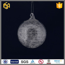 Blown hanging clear christmas glass ball with glass wire inside for decoration