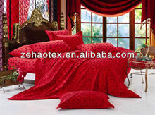 Festival polka dot pattern bright red chinese cotton wedding bed collection