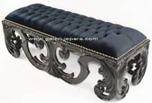 Carving Stool / Ottoman for Livingroom or Bedroom furniture - Stool with Leather Seat