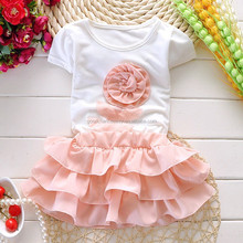 2015summer new style girl a flower short sleeve suit children cute suit children clothing wholesale