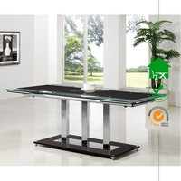 DT-2071 Elegance Contemporary Black Glass and Chrome Large Extending Dining Table