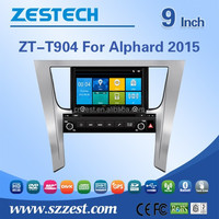 Newest model 9 inch in-dash double din car dvd player for TOYOTA Alphard 2015