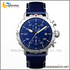 Stainless steel case leather strap watch with blue dial UN4220G-7