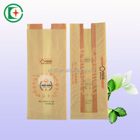 Poly lined kraft paper bag greaseproof bread paper bag with window
