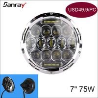 """Supply 12v 24v waterproof led headlight 7"""" for 4x4 atv"""