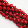 Venta al por mayor 16mm de color rojo coral perlas de piedras preciosas redondas para la fabricación de joyas