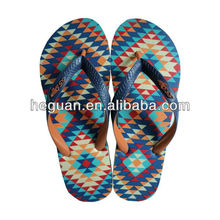 new well sale cheap men's flip flops with printing pattern insole and double color upper (HG13012