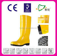 Yellow PVC injection knee high rain boots kitchen working boots