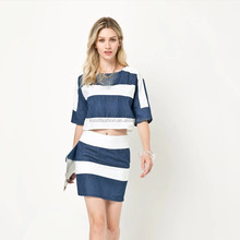 Srtipled 2 pieces set suit mini skirt and tops latest fashion clothing for women