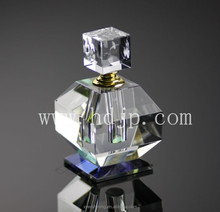 2015 high quality square clear cut empty crystal perfume bottle