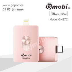 For iPhone, iPad and New MacBook 12'' MFi Manufacturer Mobile OTG USB flash drive memory Storage