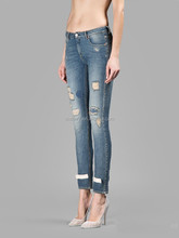 OEM Hot Sales Women Black White Slim Scratched Patchwork Cropped Demin Jeans