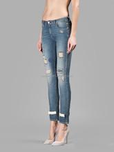 OEM Hot Sales Women Slim Scratch Patchwork Cropped Demin Jeans