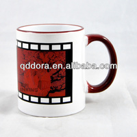 11 OZ Sublimation decal Ceramic Mug With Colored Handle and Rim